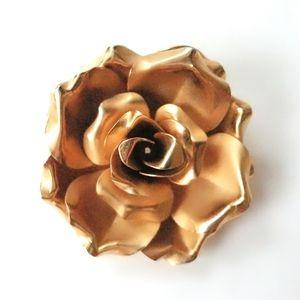 Vintage Gold Tone Figural Full Bloom Rose Booch